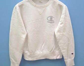 Vintage Champion Big Logo Crewneck Sweatshirt Hip Hop Sport Sweater Size S