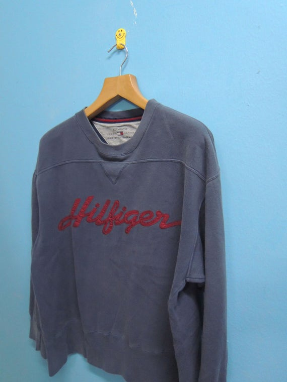 Tommy Pull L Hiliger Size Spell Fashion Sweatshirt Over Logo Urban Vintage Out Sweater Big BdOzdZn