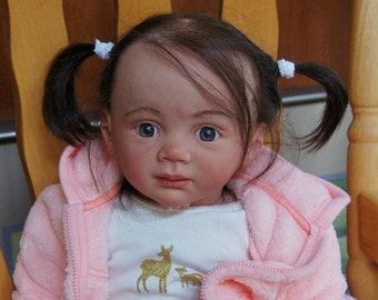 Lucy Toddler Reborn Doll 26-inch Child Girl Doll Long Hair Dark Blue Eyes Sculptor by Karola Wegerich