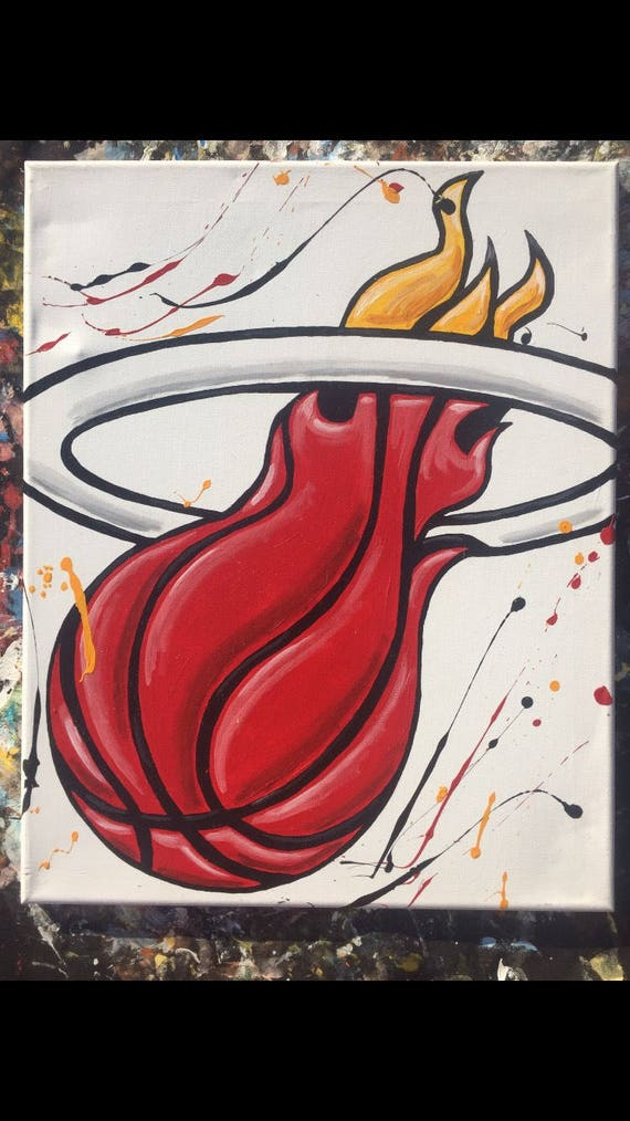 Miami Heat Logo On Canvas Etsy