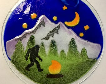 7 inch Large Bigfoot in Moonlight, Enameled Fused Glass Suncatcher, Holiday Gift Decor Wedding Favor