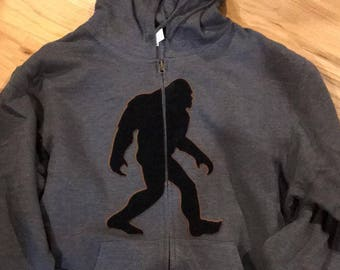 Bigfoot, Yeti, Sasquatch, With large plush Bigfoot appliqué Zip Up, with free Auto Magnet