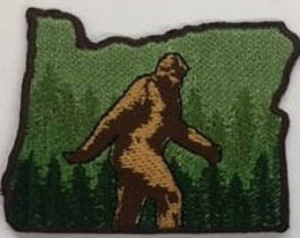 "Bigfoot Sasquatch Oregon State Embroidery patch, iron on and sew 2"" h"
