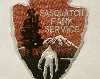 "Sasquatch Park Service, Bigfoot Embroidered Patch Applique Embellishment Iron on & Sew on 2.5"" h"