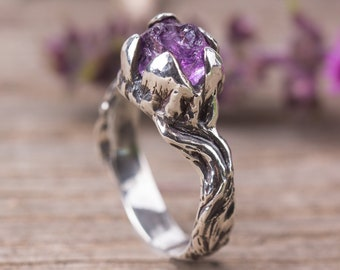 Raw Amethyst Ring, Sterling Silver tree ring, Rough silver ring, Witchcraft jewelry, Woodland ring, Witchy ring