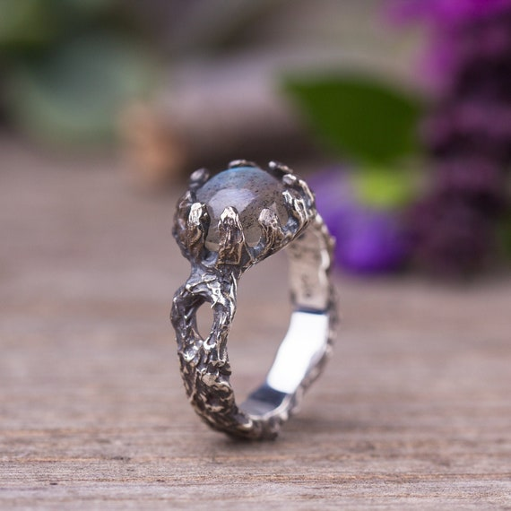 Sterling Silver 925 Labradorite Studded Tree Style Ring,Twig Ring,Tree Bark Ring,Nature Inspired,Branch Women Ring,Silver Tree Bark Ring