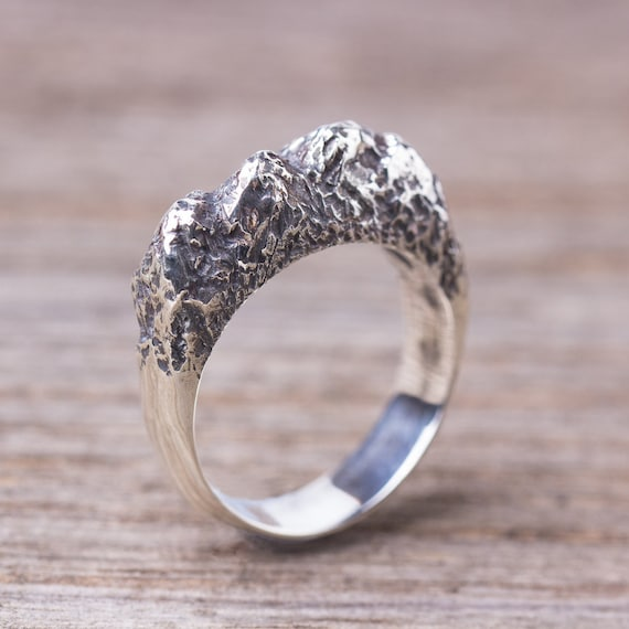 Nature jewelry Rough ring Textured silver ring Sterling silver rock ring organic ring Mountain ring for men Chunky silver ring