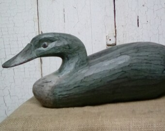 Wood Duck Decoy / Hand Carved Wooden Duck Decoy / Vintage Wooden Decoy / Primitive Style Hand Carved Hand Painted Wooden Duck Decoy / Decoy