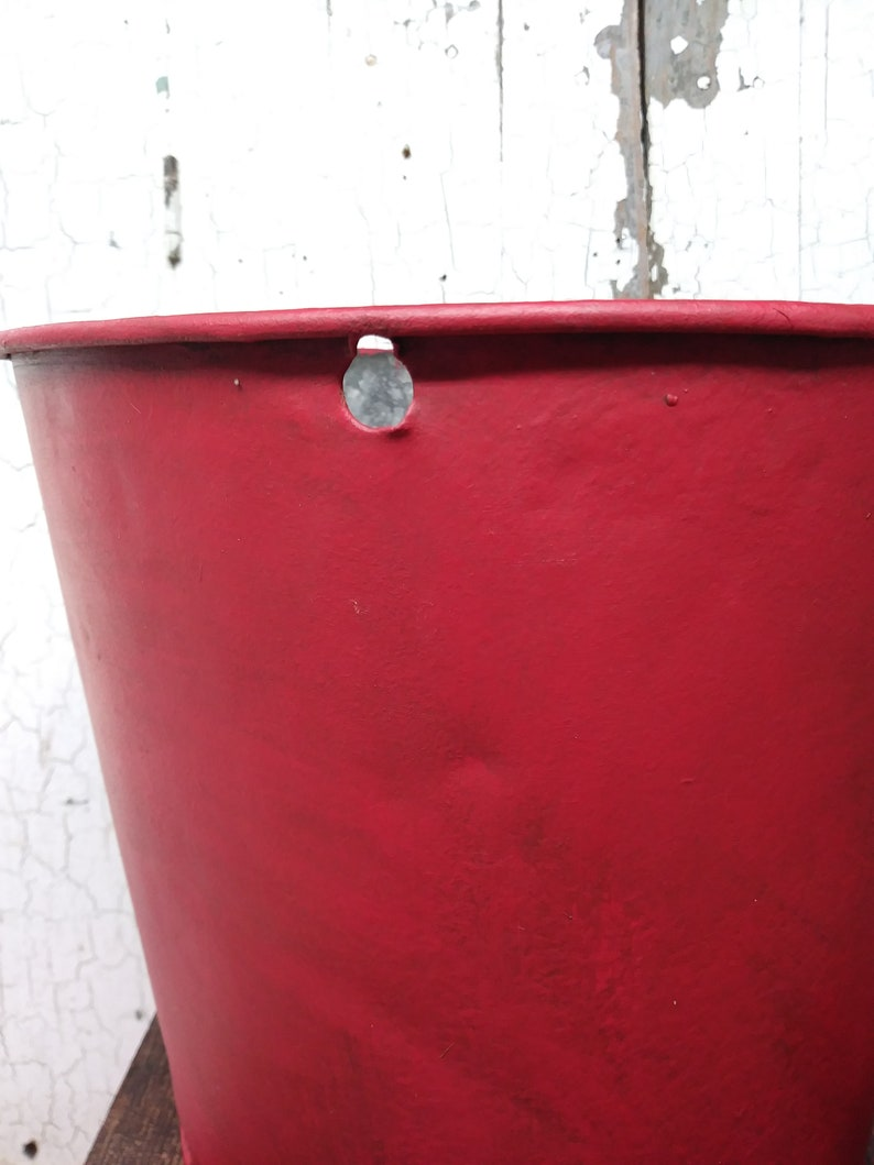 Galvanized Metal Sap Bucket Painted Red  Farrmhouse Maple Syrup Sap Bucket Sap Bucket Painted Red And Aged With Dark Wax  Sap Bucket