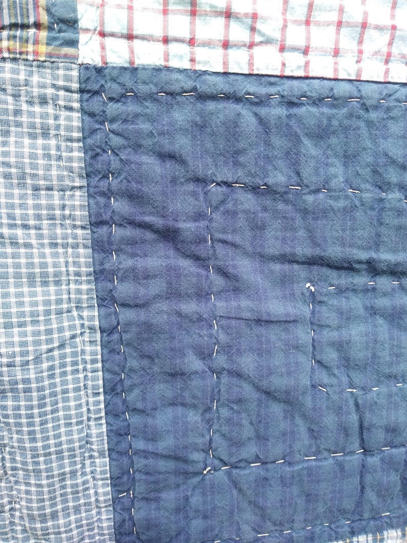Vintage Blue And Blue Plaid Squates Hand Made Quilt