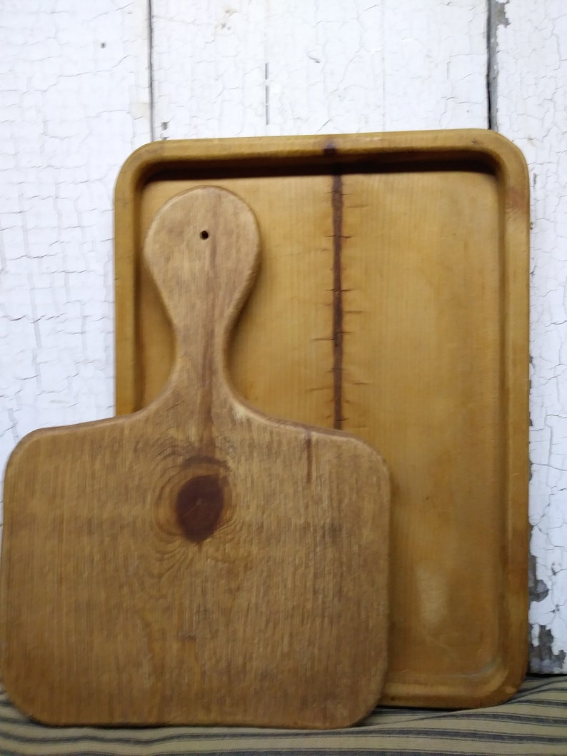 Two Vintage Cutting Boards  Wooden Cutting Boards  Cutting Board Display For The Kitchen  Cutting Board Collection  Farmhouse Decor