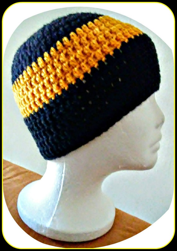 568840077e9 Made To Order Crochet Mens Beanie Pittsburgh Steelers New
