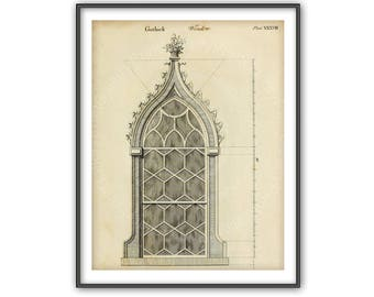 Architectural Window Drawing Print Gothic Antique Detail Plan Home Decor Wall Art Shabby Chic Interior Design Living Room Decorating Bm 472