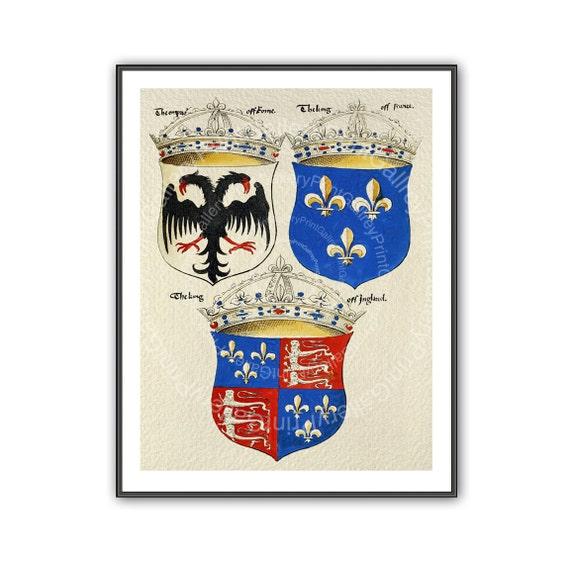 Escudo heráldico impresiones escudos Renacimiento heráldica | Etsy