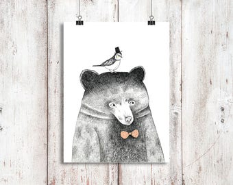 A4 Hipster Bär! Tiere, Einweihungsparty, Schlafzimmer, Geschenke, Wand Dekor,  Wohnkultur, Kinderzimmer, Hipster