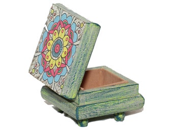 Mandala Wood and Glass Jewelry Box