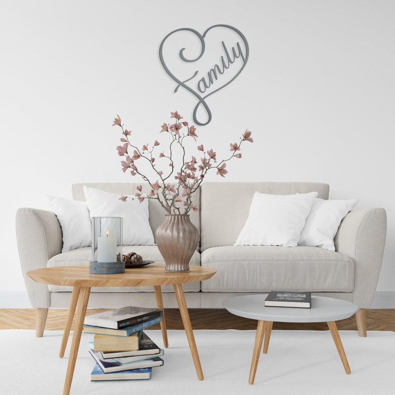Gift For New Family,Personalized gift,Wedding Gifts Family Room Decor Family Heart metal wall hanging sign Bridal Shower