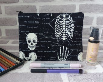 Skull pencil case, skull makeup bag, anatomy bag, skeleton bag, glow in the dark, school supplies , gift, birthday present