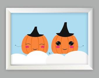 Halloween decor  Poster with sweet pumpkins. Autumn posters, wallart, Halloween 2016, pumpkins on the clouds