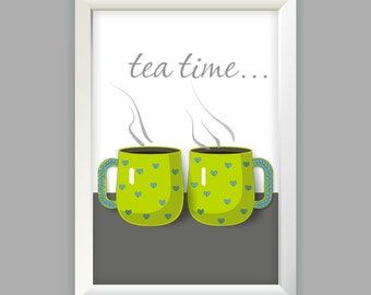 Tea time, two cups of tea, GREEN cups OR BROWN with blue hearts in instand download poster, print youself, kitchen decor, wall decor