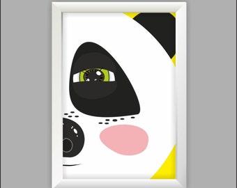 Panda print Instant download Wall art Nursery print Print for kids Positive print, buy and download poster, panda poster, panda art,optimism