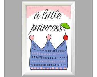Poster Baby girl wall print, a little princess, crown Wall Art Print, Kids, Printable Art, Wall Print, Home Decor, Kids Print Download