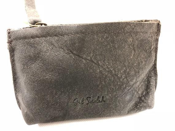 Porte monnaie en cuir gris; Mini cuir composent le sac; pochette en cuir petite fermeture zip