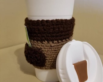 Coffee / Tea Travel mug with crochet cozy with sweetener pocket. Cozy with pockets! Perfect coffee lover gift!