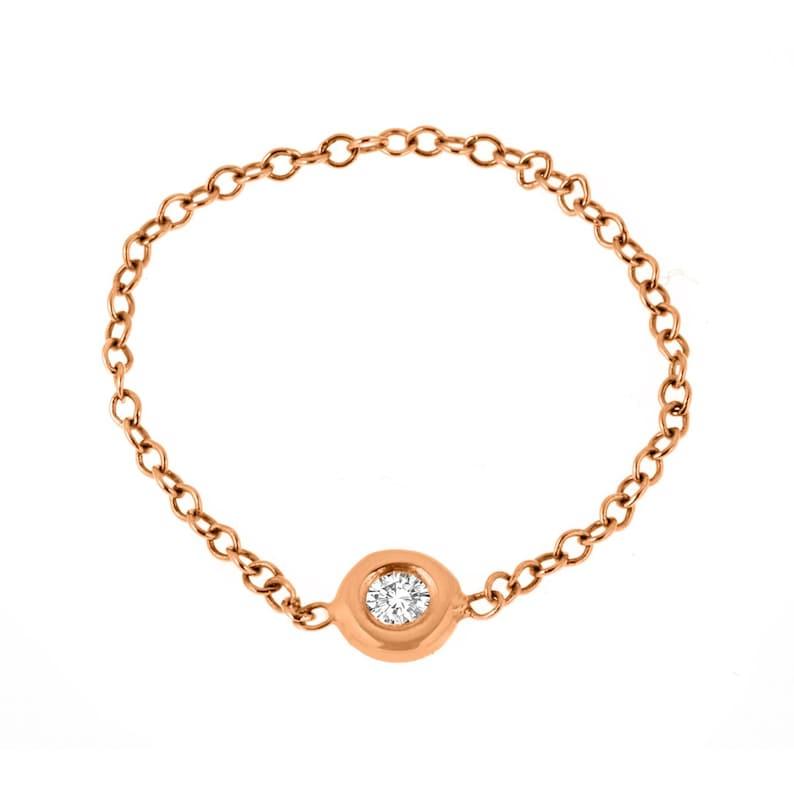 Diamond Ring Dainty Diamond Chain Ring Diamond Bezel-Set Chain Ring