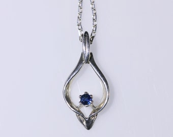 Blue Sapphire Sterling Silver Drop Necklace