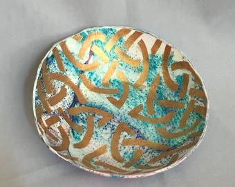 Elegant rainbow swirled Celtic knot Ring dish ring bowl trinket handmade from polymer clay unique gift accessory