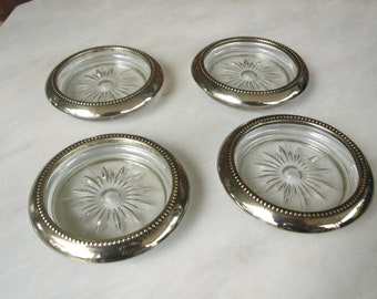 Sterling and Glass Vintage Signed Sterling Circa Modernist Kitchen Rimmed Glass Coasters Service Plate with Sterling Rim Hollowware HST
