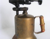 Antique Hand Held Blow Torch w Brass Paint Finish Industrial Tool