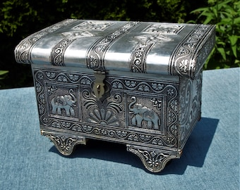 Ornate Repousse India Jewelry  Trinket Box with Elephant Motif Hand Hammered Stamped Metal Over Wood w Velvet Felt Lining and Wheels