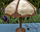 Antique Art Nouveau Table Lamp with Large Curved Slag Stained Glass Shade - Works