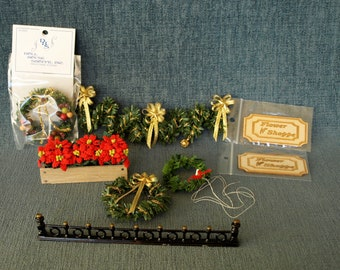 Dollhouse Miniature Christmas Place Mat in Blue with Holly Plant