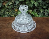 Vintage Heart Echt Bleikristall German Clear Lead Crystal Butter Cheese Dish with Cut Glass Pattern