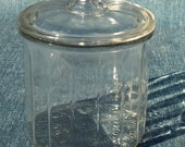 Congress Cigar Co. 1st District Chicago Illinois Factory No. 1040 Clear Glass Humidor Storage Jar Canister w Lid - Superb Cond - Held 50