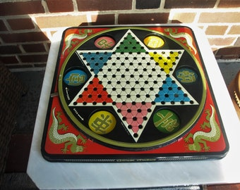 Vintage Chinese Checkers by Pressman Toy Corp Hop Ching Pressed Tin Steel Litho. No. 2253 – Board Only