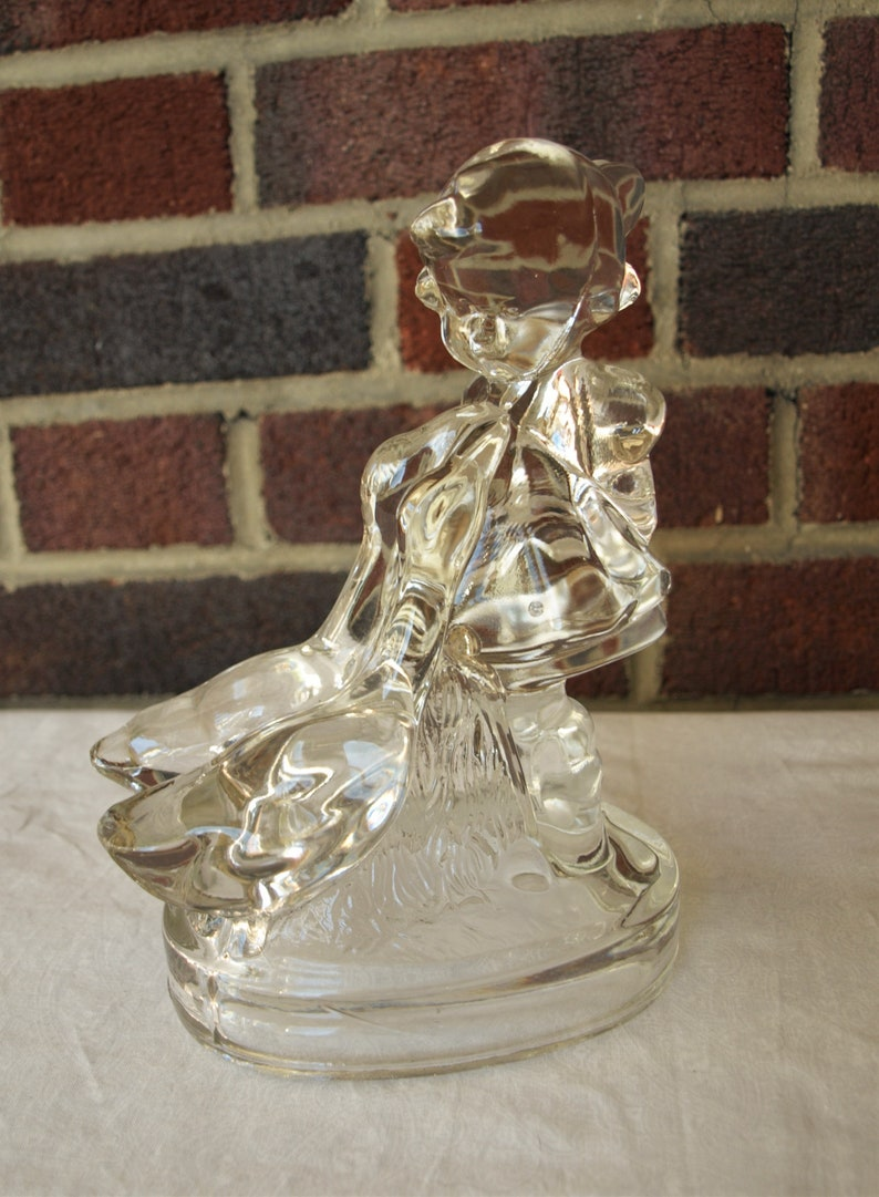 Smith Clear Glass Girl with Geese Figurine Sculpture \u2013 7.75\u201d tall Vintage L.E