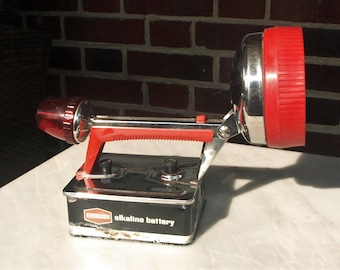 Vintage Eveready Captain Stainless Steel Waterproof Flashlight with Red Tail Light and Accents