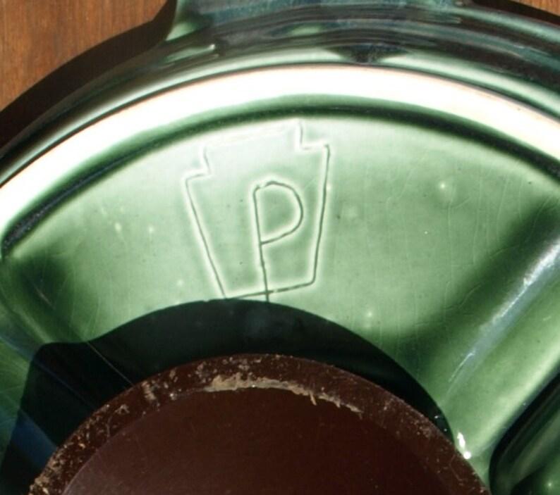 Very Rare Early Pfaltzgraff Green Drip Glaze Lazy Susan Platter Plate circa 1920 \u2013 Keystone Symbol with Large P mark
