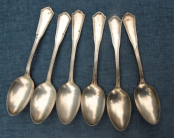Oneida Community Reliance Silver Plate Exeter Pattern Tea Spoons - Set of 6
