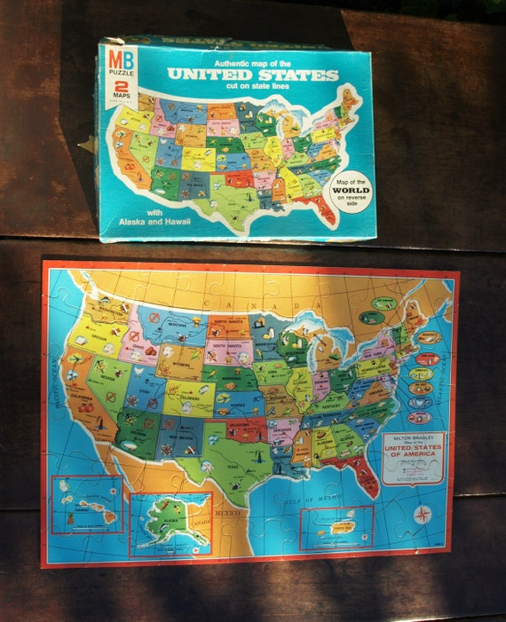 Vintage United States Map Puzzle by Milton Bradley 1975 No.   Etsy