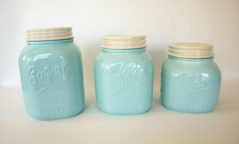 Young's Porcelain Kitchen Storage Canisters in Light Baby Blue for Coffee,  Sugar and Tea – Figural Canning Jar Shaped