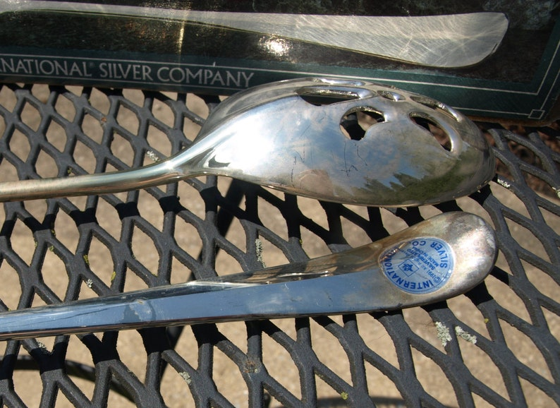 9911 8007 Two International Silver Company Silver Plated Slotted Serving Spoons No