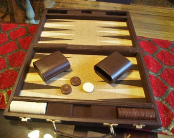 Vintage Travel Backgammon Game In Faux Leather Carrying Case – missing pieces