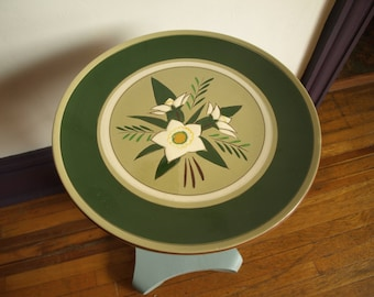 Vintage Large Stangl Star Flower Dinner / Serving Plate – Hand Painted Green Serving Plate with White Flowers