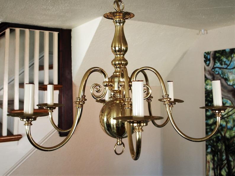 Vintage Dutch Flemish Brass 6 Arm Incandescent Chandelier
