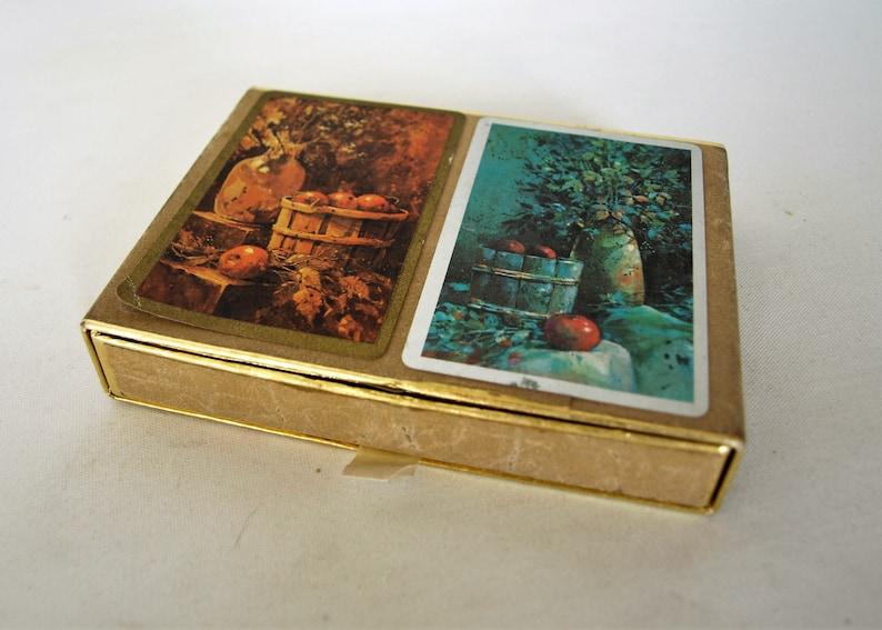 Vintage Congress Playing Cards Cel-U-Tone Finish \u2013 Country Still Life Theme \u2013 2 Decks \u2013 Complete